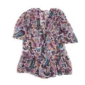 American Eagle Paisley Short Sleeve Open Kimono